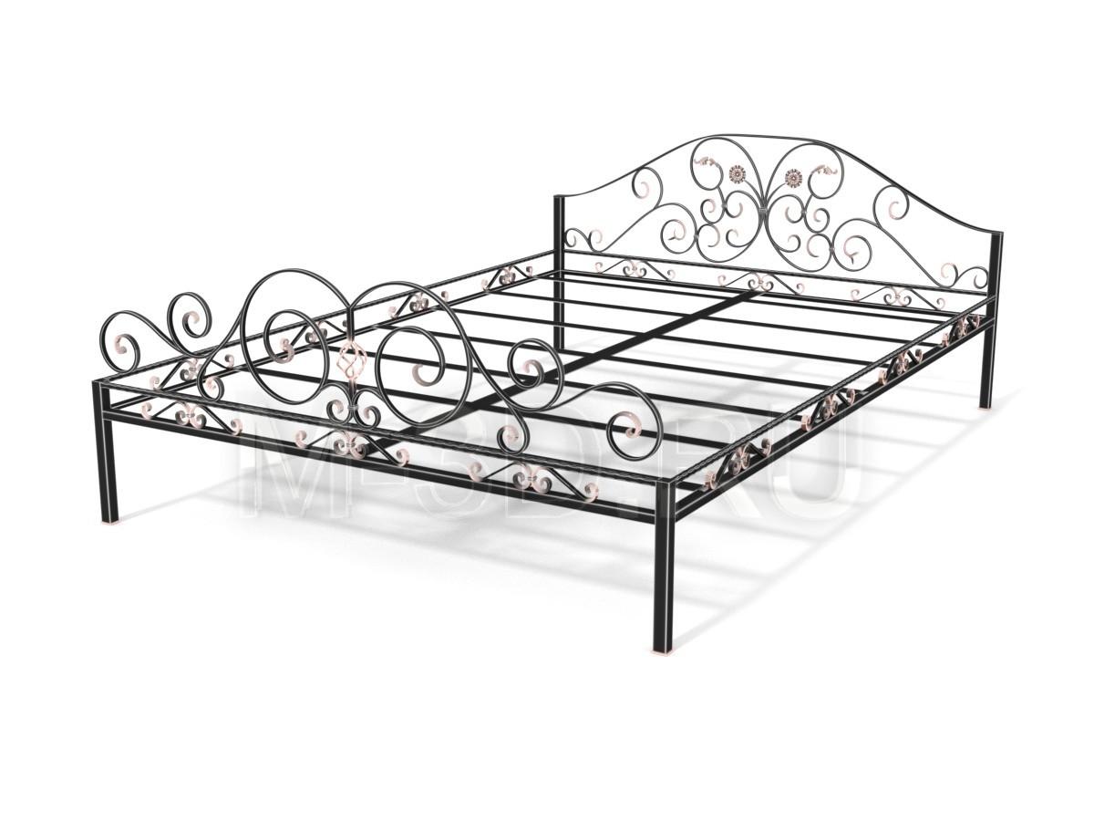 Кованая кровать с листьями