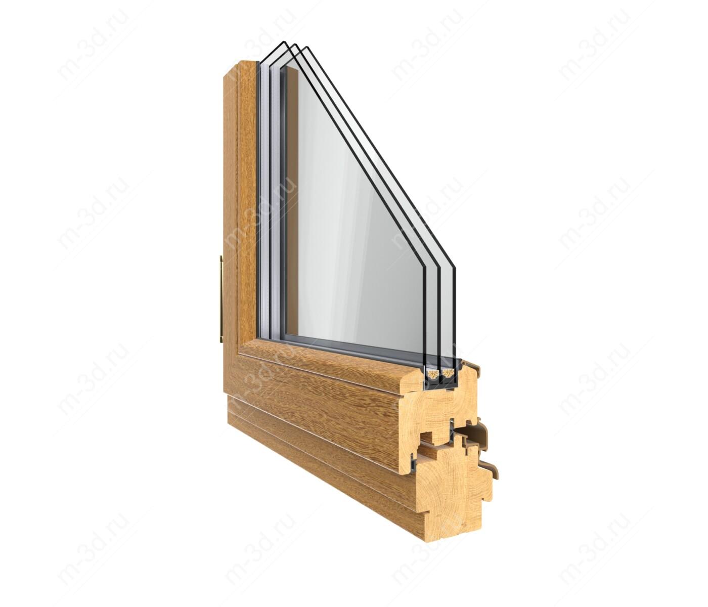 окно дубовое в разрезе